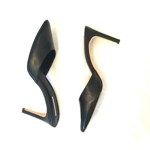 [BCBG] Black Leather Slip On Heels - Size 8.5